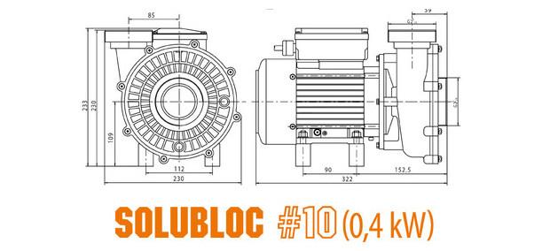 pompe piscine pour filtration monobloc - compatible Desjoyaux® - dimensions solubloc 10