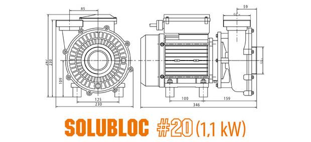 pompe piscine pour filtration monobloc - compatible Desjoyaux® - dimensions solubloc 20