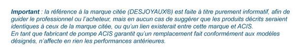 pompe de filtration compatible Desjoyaux - reference marque