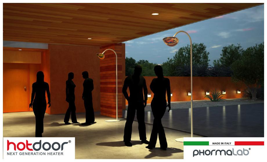 Hotdoor - Lampe chauffante infrarouge sur pied pour extérieur