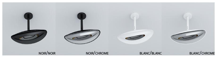 plafonnier chauffant infrarouge extérieur - couleurs modele simple tete