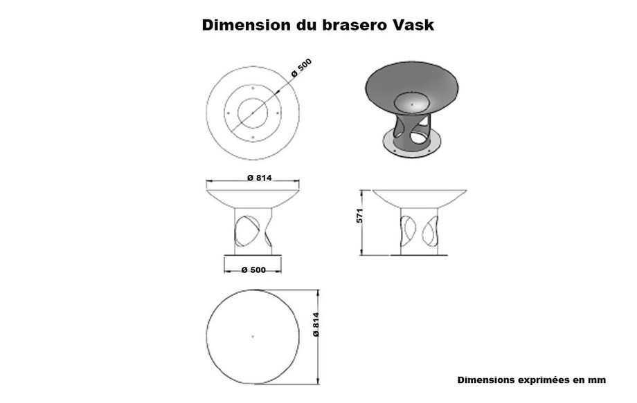 DIMENSION DU BRASERO VASK