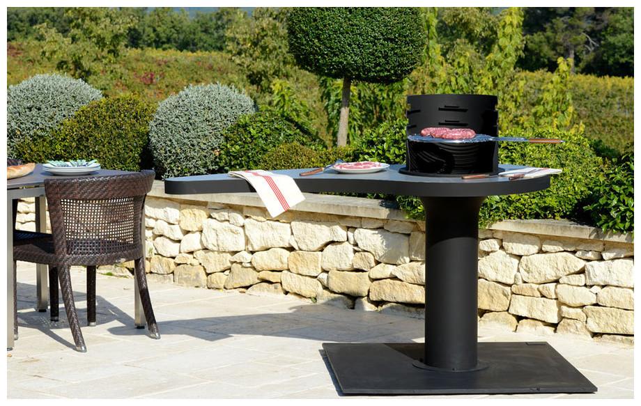 Brasero de jardin avec table pivotante jardin - Table jardin barbecue creteil ...