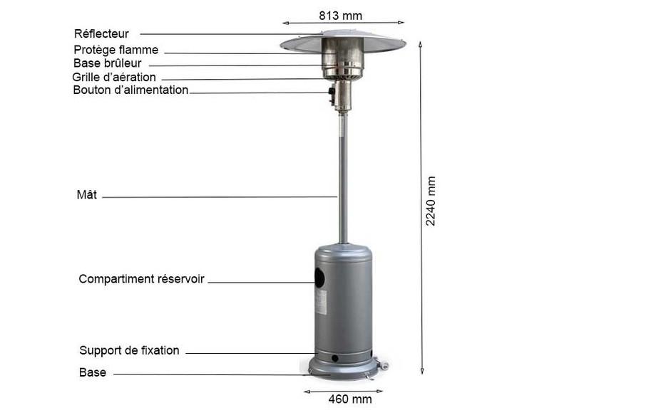 schéma du parasol chauffant à gaz gris