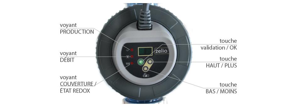 Electrolyseur piscine Zelia ZLT - commandes cellule