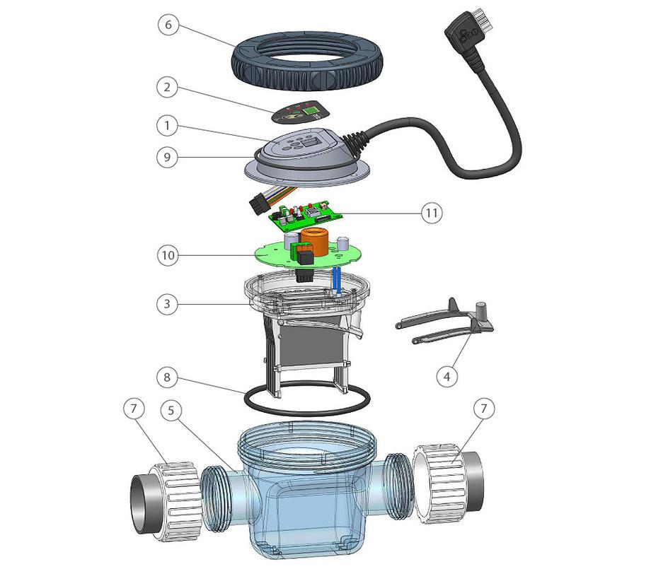 zelia - electrolyseur piscine compact - vue eclatee