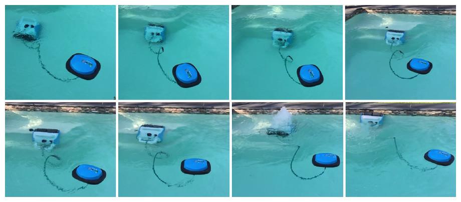 robot piscine qui nettoie les marches