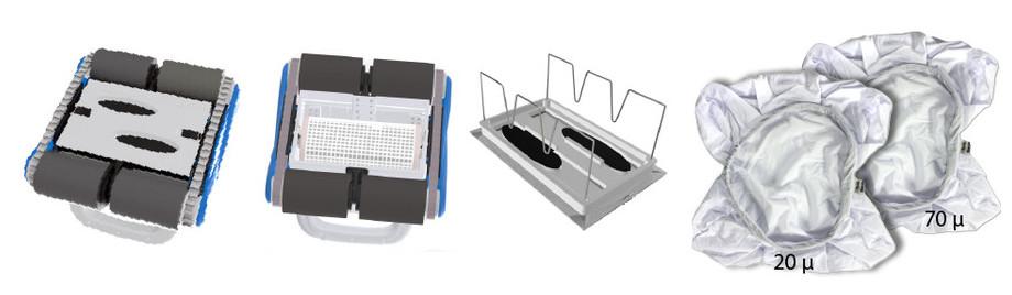 robot de piscine autonomie poolbird sans fil - vue de dessous et sacs filtrants