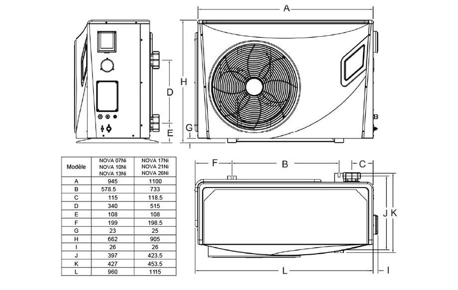 Pompe à chaleur piscine Pacfirst Nova Inverter - dimensions