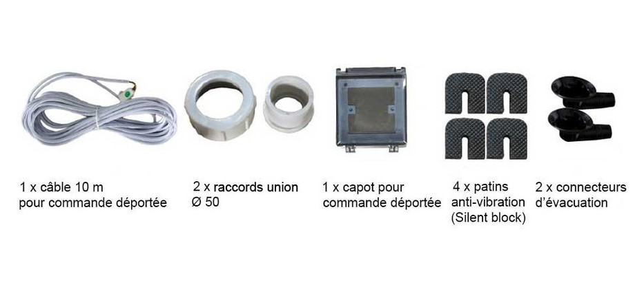 Accessoires fournis avec la pompe à chaleur Pacfirst Nova Invecter