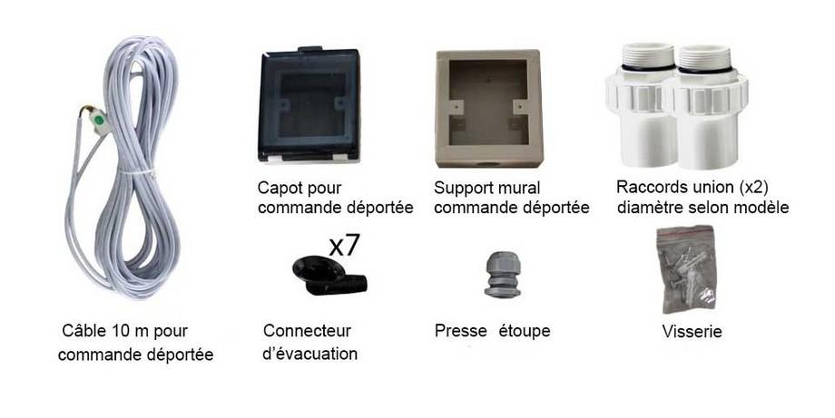 Accessoires fournis avec la pompe à chaleur Pacfirst Steel Pro