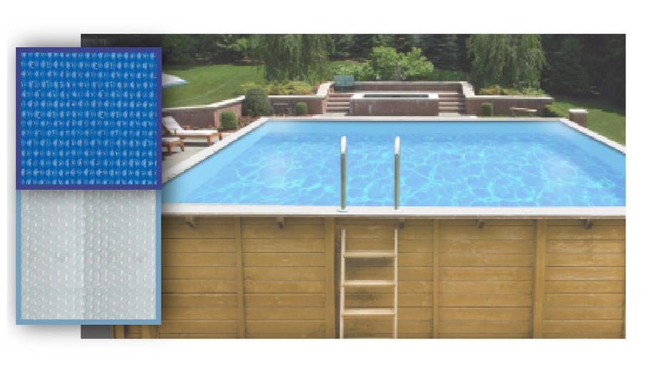 Bâche à bulles 300x300 piscine bois Woodfirst Original Carrée