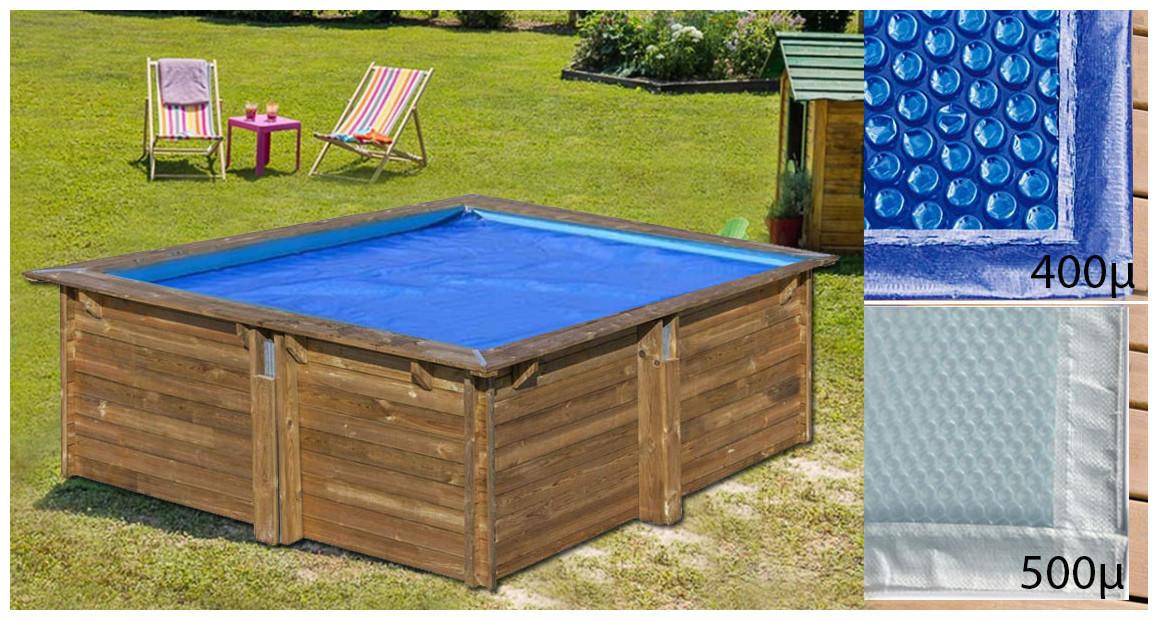 bâche été à bulles pour piscine bois Woodfirst Original carrée