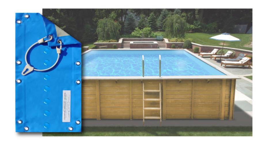 Bâche opaque pour piscine bois carrée 300x300 Woodfirst Original