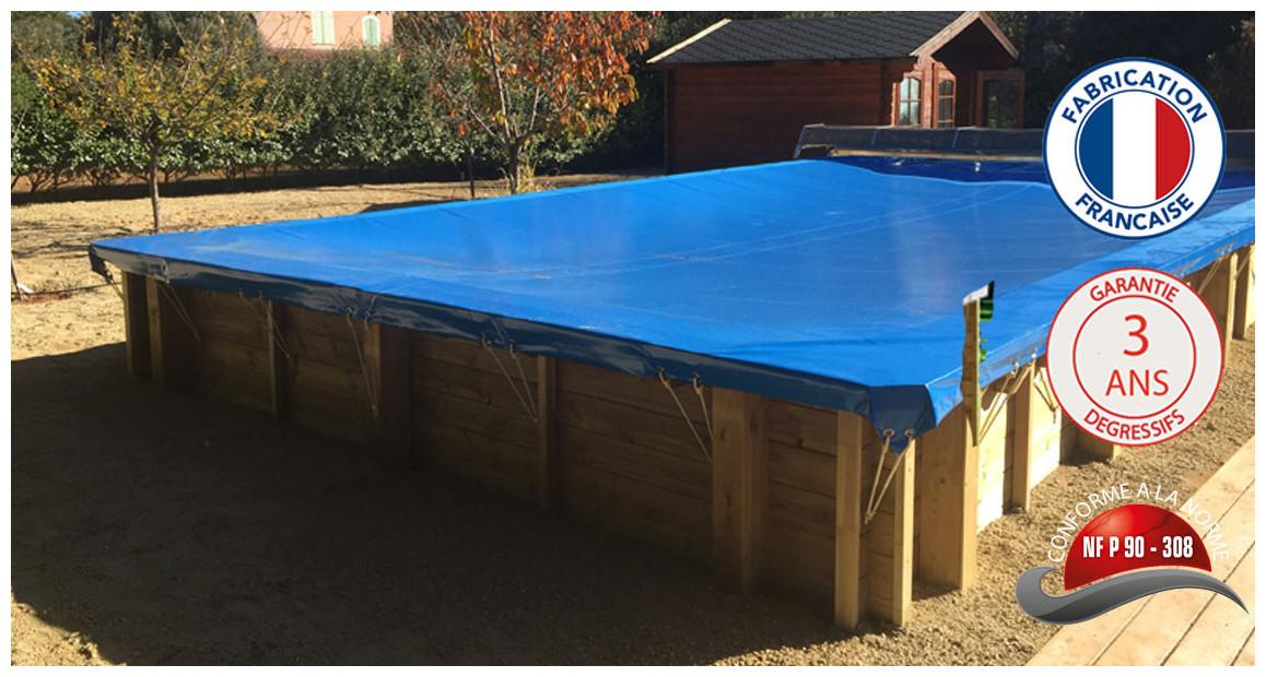 bâche hiver pour piscine bois carrée woodfirst original