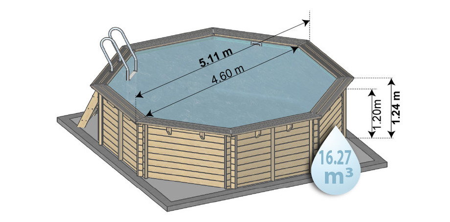 Piscine bois woodfirst original en kit - dimensions 511 x124 cmm