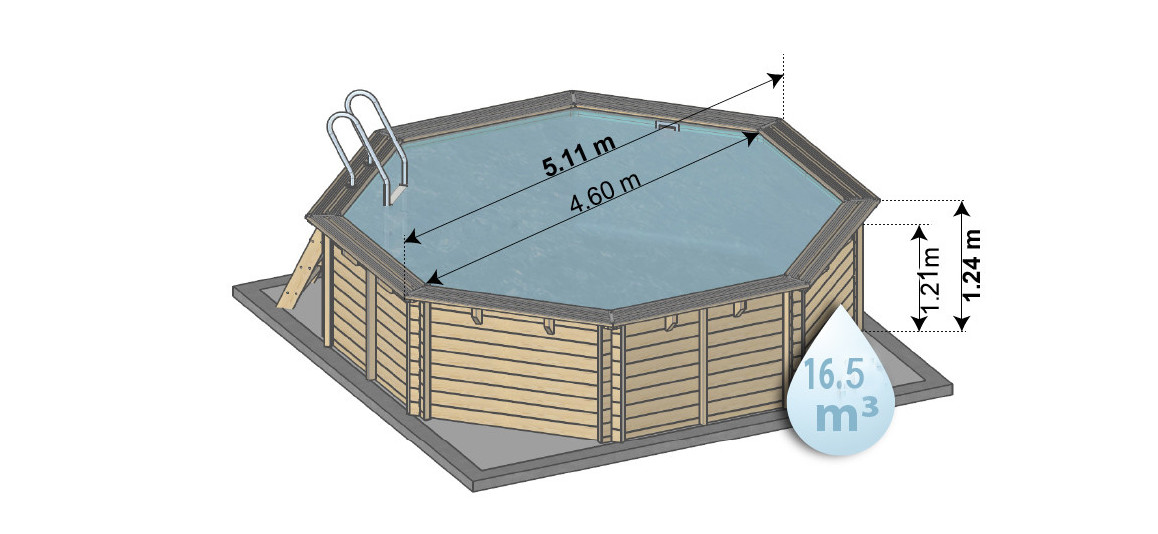 dimensions de la piscine bois woodfirst original octogonale 511