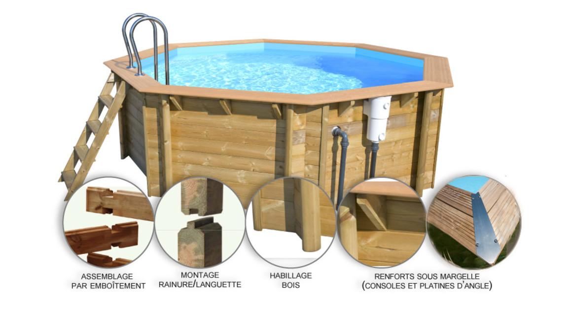 structure de la piscine bois woodfirst original octogonale 511