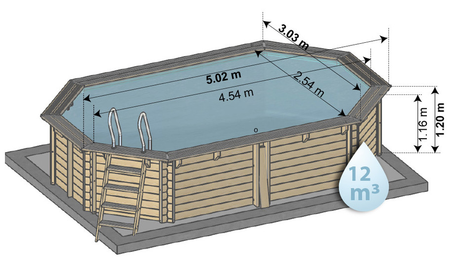 Woodfirst Original 502 x 303 x 120 cm - Piscine bois octogonale en kit - dimensions
