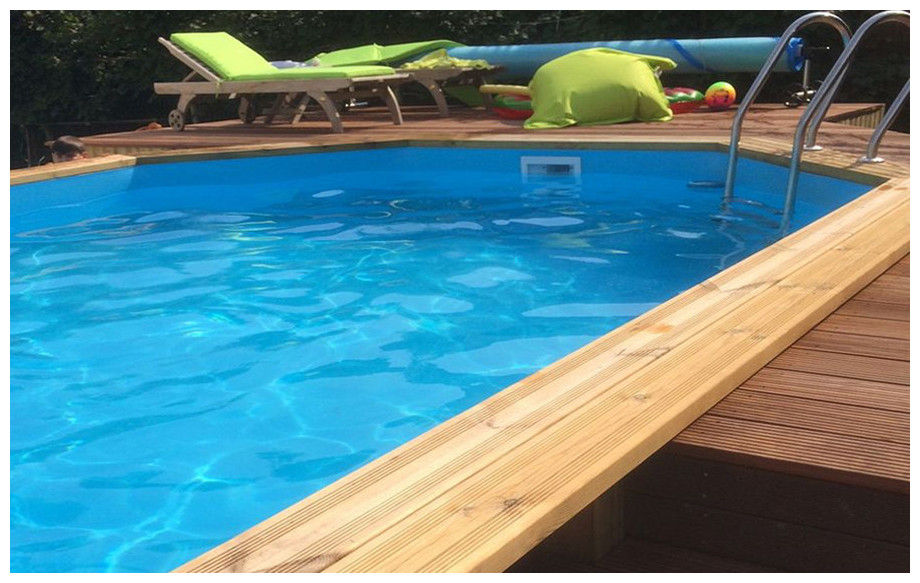 piscine bois octogonale allongée Woodfirst Original liner