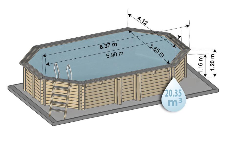 piscine kit bois 634 x 412 hauteur 120 - schema dimensions