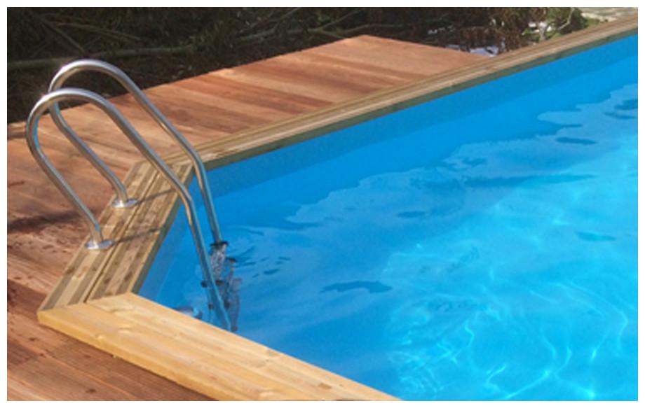 piscine bois octogonale allongée Woodfirst Original coloris liner
