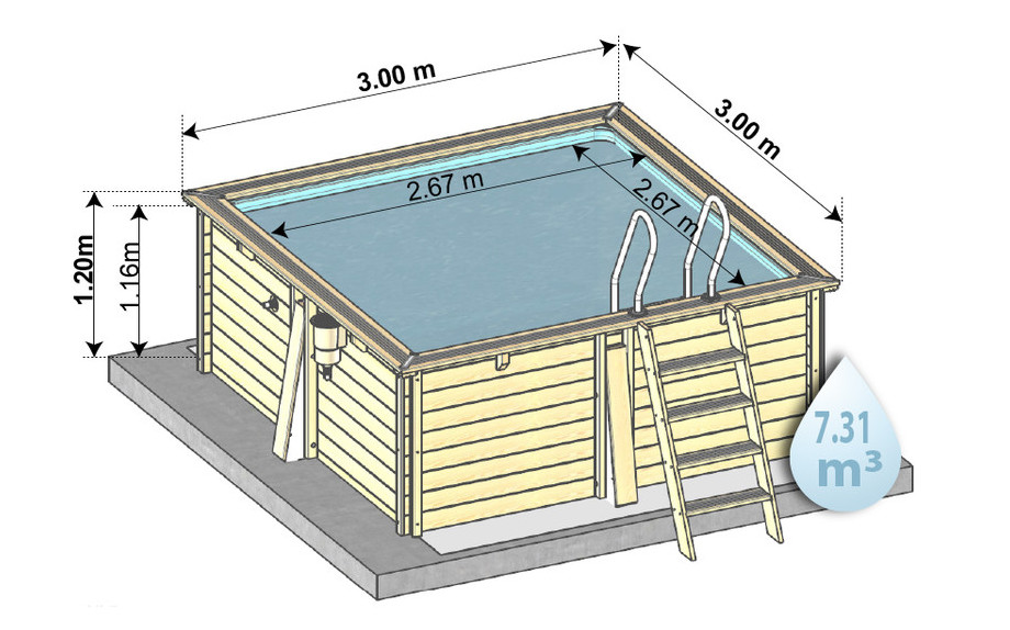 Piscine en bois carr e en kit piscine center net for Piscine center