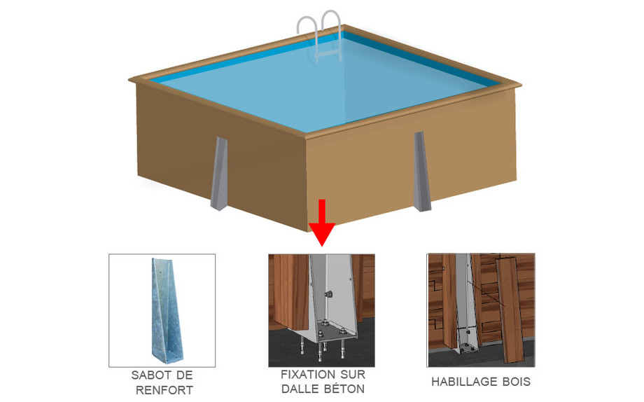 Piscine en bois carr e en kit piscine center net for Piscine hors sol wood grain