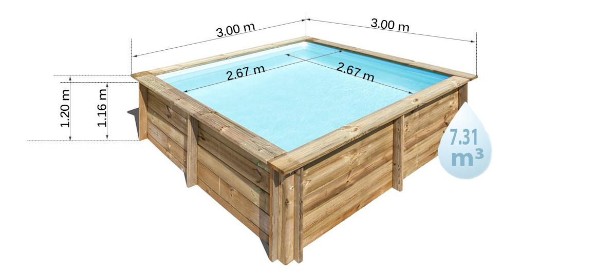 dimensions de la piscine bois carrée woodfirst original