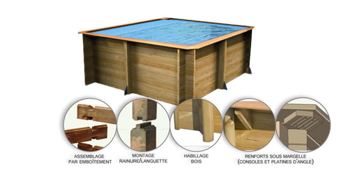 piscine bois carrée structure