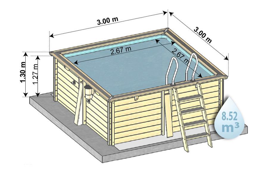 kit piscine woodfirst original 300x300x133 en bois - schema dimensions