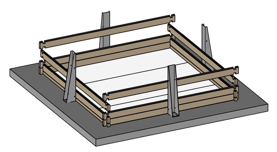 piscine bois carrée en kit Woodfirst Original 300x300x133 en situation
