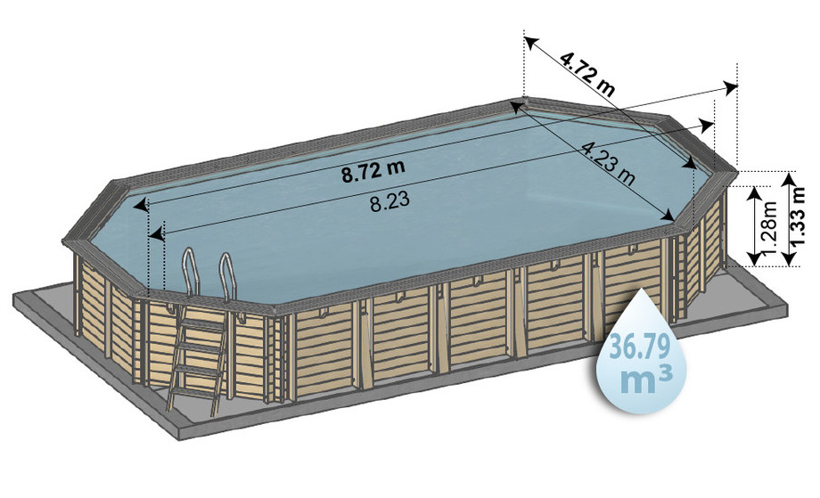 piscine bois en kit woodfirst original - dimensions 872*472 H 133