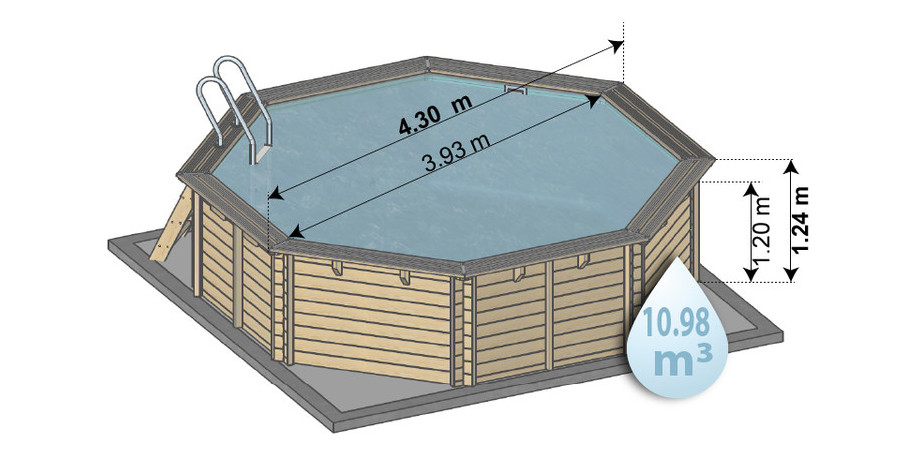 piscine kit en bois woodfirst original 430x124 -schema dimensions