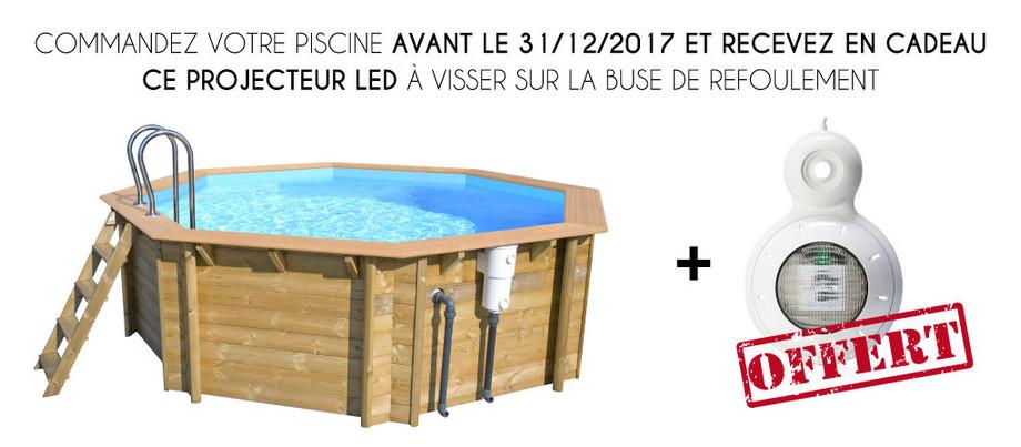 Woodfirst Original Octogonale 430 x 124 - Le kit piscine bois le mieux équipé sur le marché ! (Projecteur LED offert)