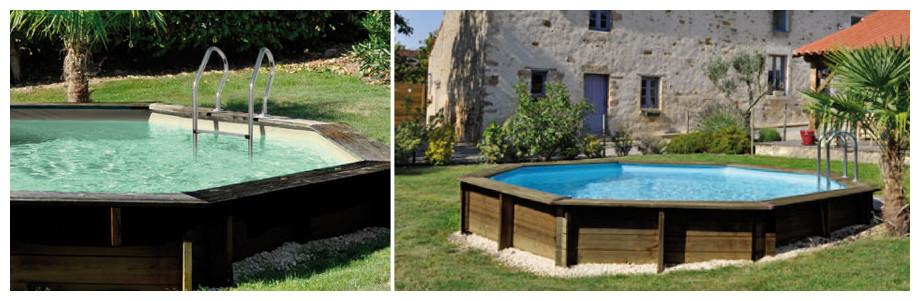 piscine octogonale en bois woodfirst original - images ambiance