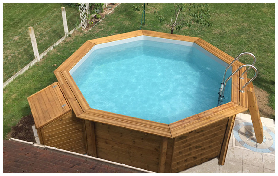 Woodfirst original kit piscine bois 562 x 133 cm for Piscine hexagonale hors sol