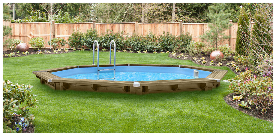 piscine bois octogonale allongée Woodfirst Originale 562x133 semi enterrée