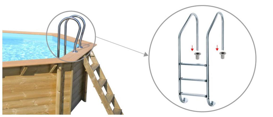 échelle d'accès en inox pour piscines bois Woodfirst Original