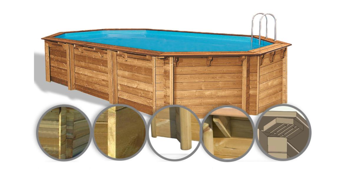 structure de la piscine bois octogonale allongée woodfirst original 755x456x146