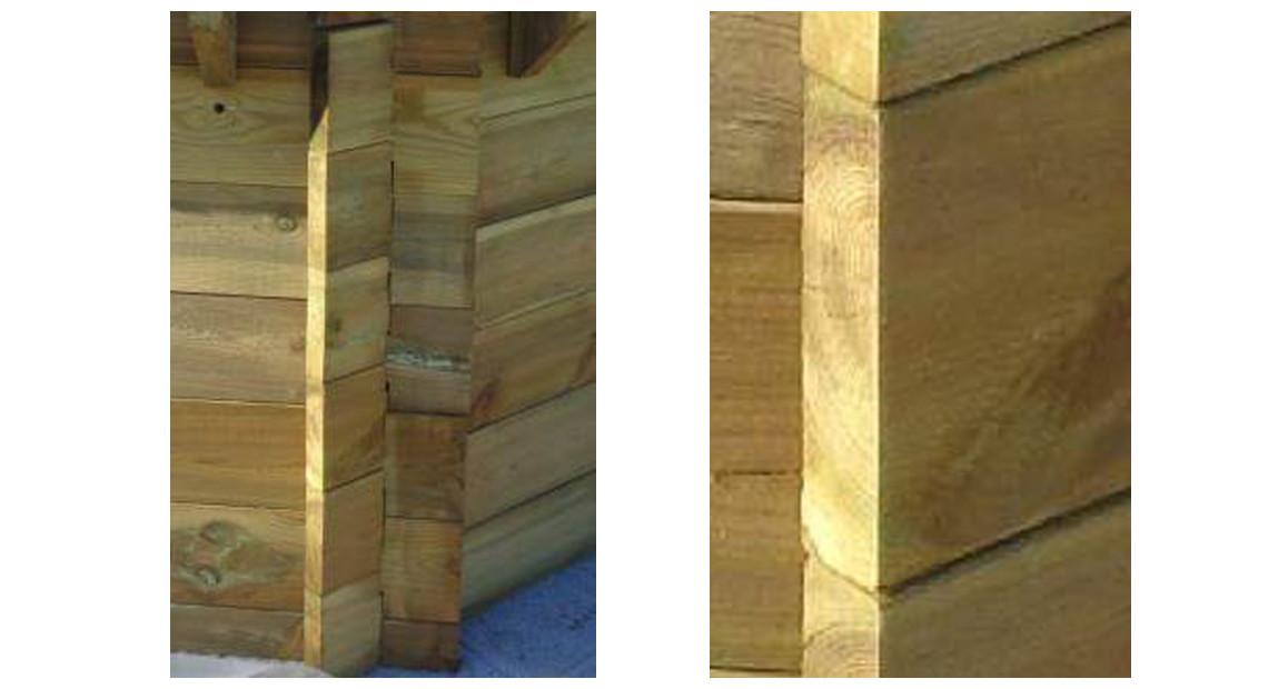 montage de la structure bois de la piscine bois woodfirst original octogonal allongée 755x456x146