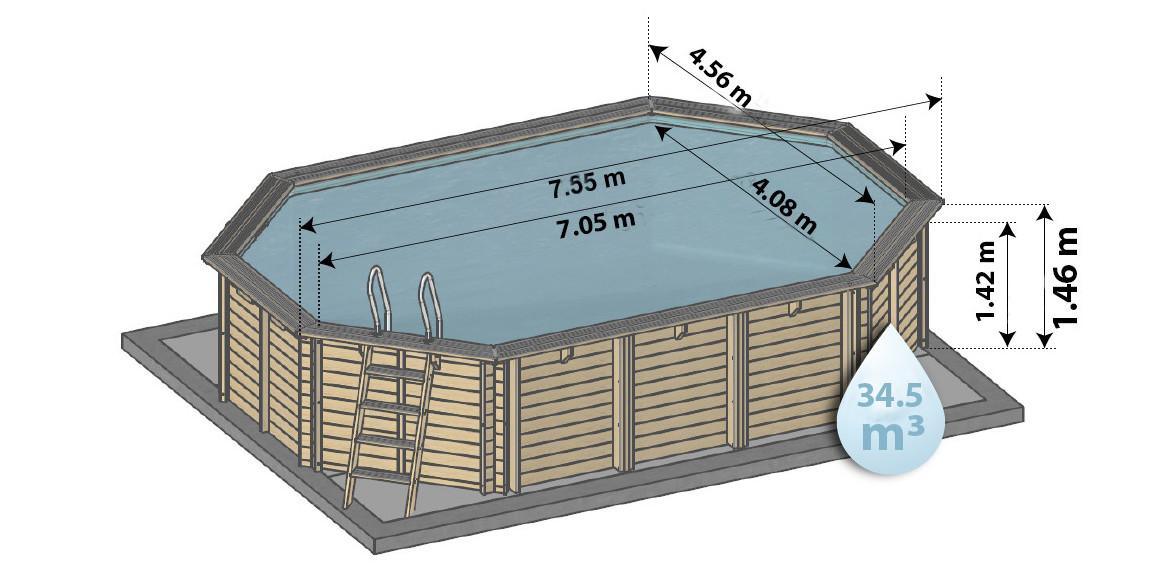 Dimensions de la piscine bois woodfirst original octogonale allongée 755x456