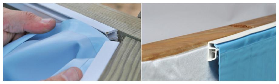 liner piscine bois woodfirst original - fixation hung et jonc blocage