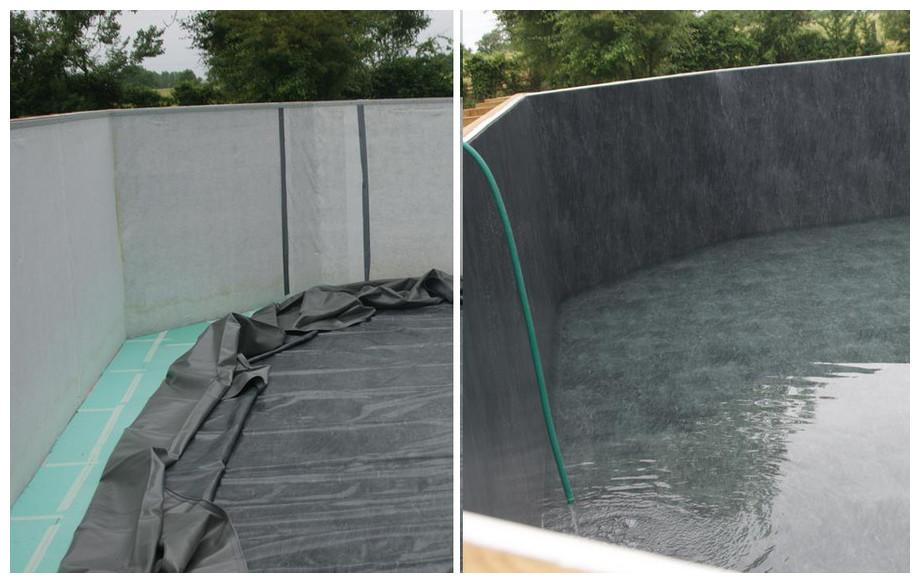 piscine bois octogonale allongée Woodfirst Original tapis et feutre de parois