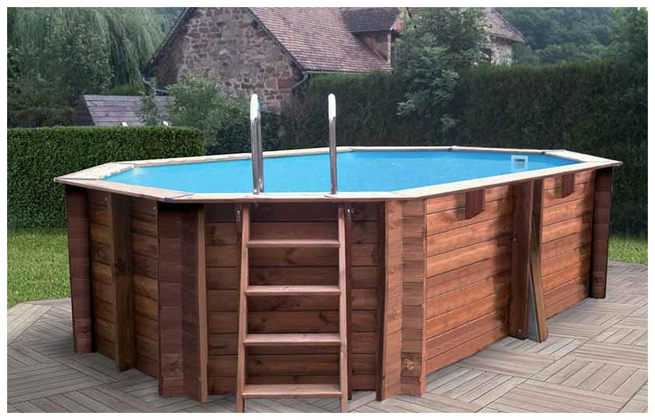 piscine bois octogonale allongée Woodfirst Original hors sol