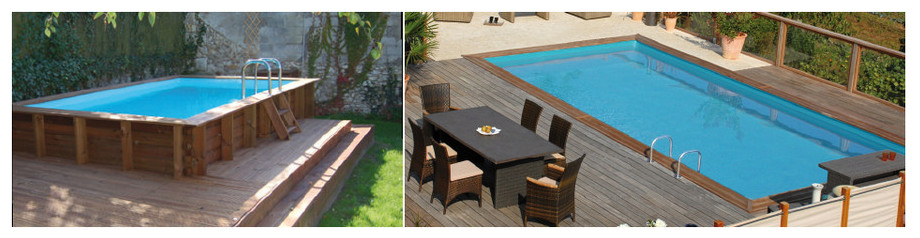 piscine rectangulaire en bois woodfirst original - images ambiance