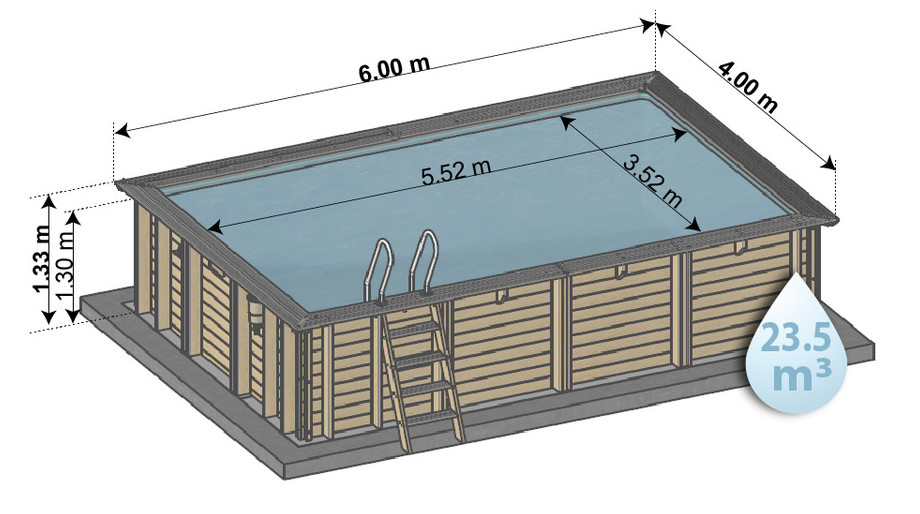 Woodfirst original kit piscine bois 600x400x133 piscine for Liner pour piscine enterree rectangulaire