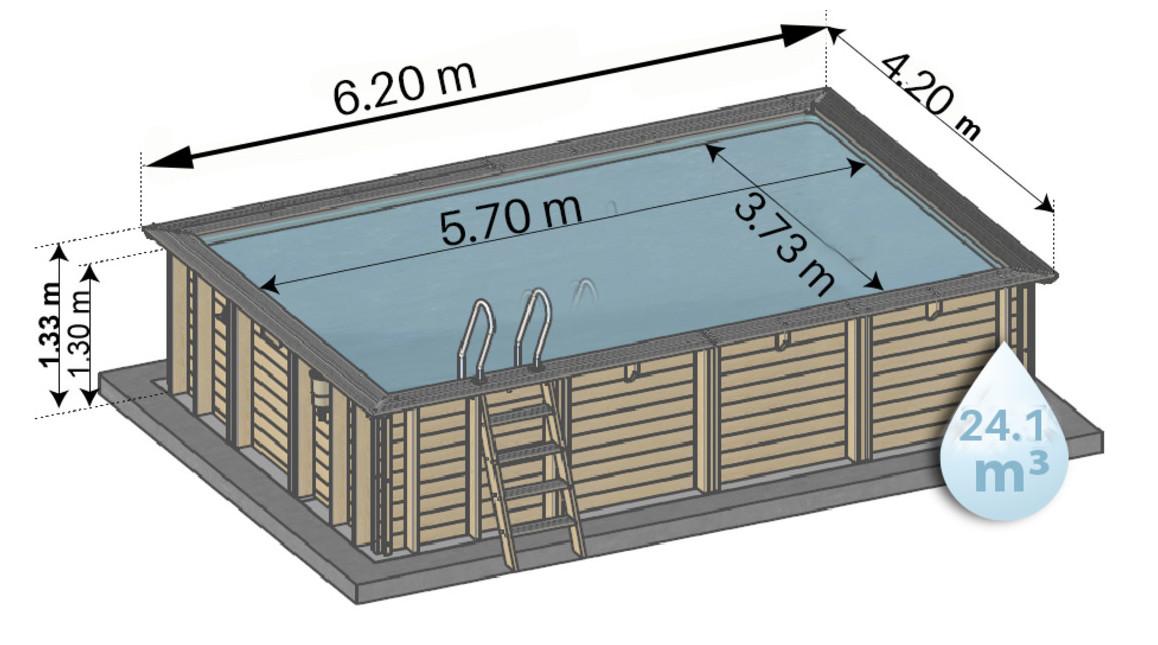 dimension de la piscine bois woodfirst original rectangle 620