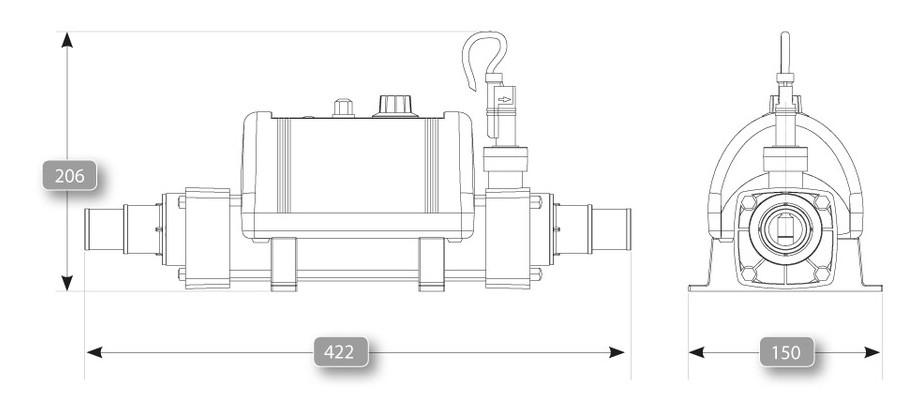 Réchauffeur Vulcan Nano 3 kW pour spas et piscines - dimensions