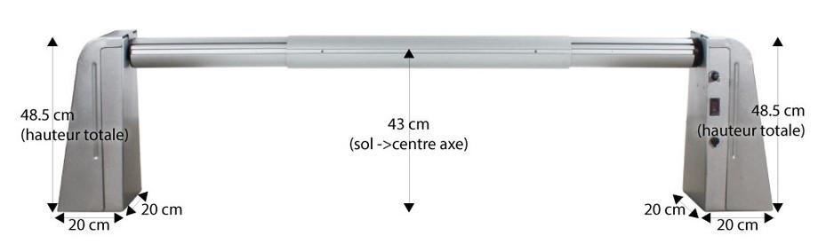 Enrouleur motorisé à batterie avec télécommande -dimensions